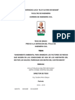 Universidad Laica Tesis Diseño de SANEAMIENTO AMBIENTAL PARA MINIMIZAR LOS FACTORES DE RIESGO QUE INCIDEN EN LAS CONDICIONES DE VIDA DE LOS HABITANTES DEL SECTOR LOS SAUCES, PARROQUIA SAN MATEO DEL CANTÓN MANTA