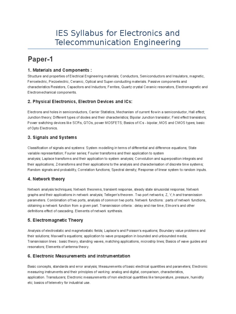 IES Syllabus for Electronics and Telecommunication