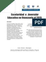 Escolaridad e inversión educativa en Venezuela (2015)