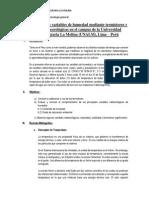 Evaluación de las variables de humedad mediante termistores y variables meteorológicas en el campus de la Universidad Nacional Agraria La Molina (UNALM), Lima – Perú