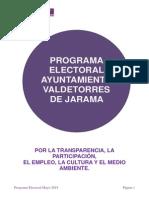 Programa Electoral Ayuntamiento Valdetorres de Jarama