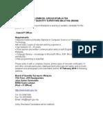 iklan jawatan kosong di lembaga juruukur malaysia job vacancy at board of quantity surveyors malaysia (bqsm) feb 2010