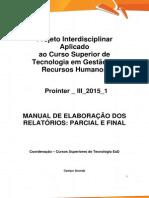 Prointer III 2015 1 A1 TRH Manual de Elaboracao