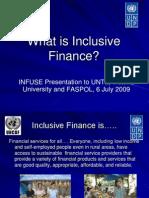 Inclusive Finance a presentation by Marcella Willis of UNDP