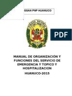 MANUAL DE ORGANIZACIÓN Y FUNCIONES DEL SERVICIO DE EMERGENCIA Y TOPICO Y HOSPITALIZACION
