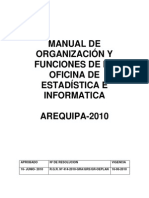 MANUAL DE ORGANIZACION Y FUNCION DE LA OFICINA DE ESTADISTICA