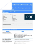 Hepl Bac Technologue de Laboratoire Medical Bloc 1 Programme 2014
