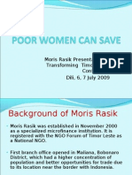 Lola dos Reis of Moris Rasik 2009 presentation - Poor Women can Save