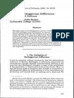 On Post-Heideggerean Difference
