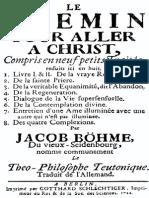 BOEHME, Jacob - Le Chemin Pour Aller à Christ