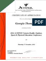 achper conference certificate