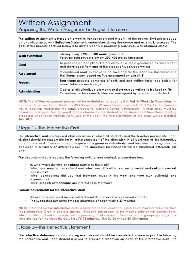 1 10 Preparing The Written Assignment Essays Educational Assessment