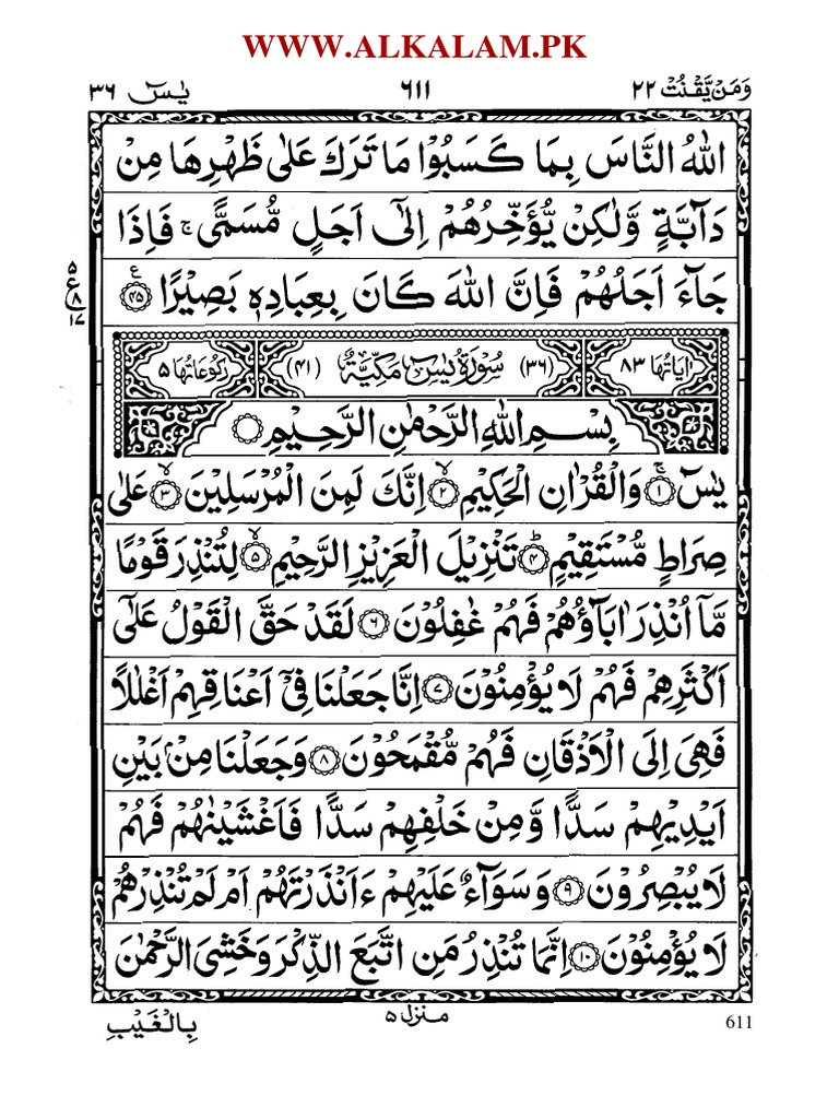 Learning To Read The Yaseen Surah With Tajweed