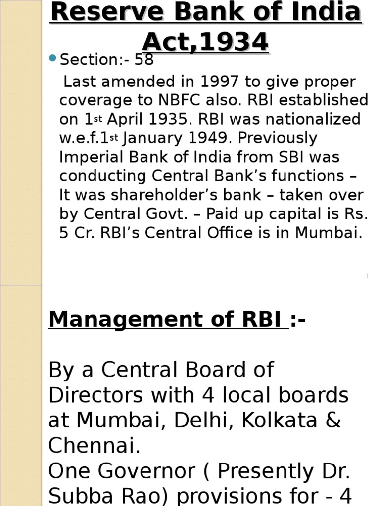 reserve bank of india act 1934 notes
