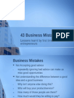 43 Business Mistakes Presentation on Entrepreneurship Failures