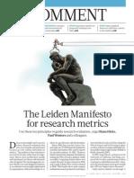 O Manifesto Leiden Para Métricas de Pesquisa