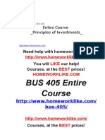 BUS 405 Entire Course Principles of Investments