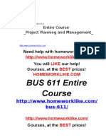 BUS 611 Entire Course Project Planning and Management