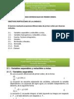 Clase 4. 2.1.1 Ec. Dif Variables Separables 16-04-2015