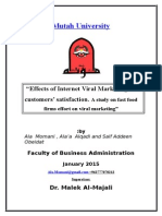 Effects of Internet Viral Marketing on Customers' Satisfaction