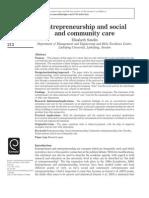 Entrepreneurship and Social Community Care