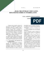 Reflexiones Sobre La Interrelacion Entre Personalidad, Creatividad y Educacion Albertina Mitjans Martinez
