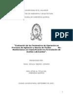 Evaluación de Los Parámetros de Operación en Procesos de Agitación y Mezcla de Fluidos No- Newtonianos Con Especificación en Formulación de Aceites Lubricantes