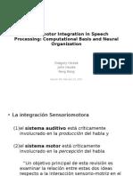 Sensorimotor Integration in Speech Processing