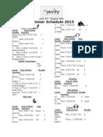Summer Schedule Schedule and Pricing w Registration