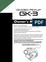 Roland Gk-3 Guitar Pickup Manual