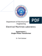 Electrical Machines Laboratory - Single Phase Transformer