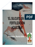 El Silicato en La Fertilización Acuicola