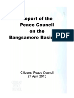 Report of the Peace Council on the Bangsamoro Basic Law