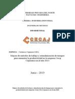 INGENIERÍA DE MÉTODOS - MEJORA DE MÉTODOS DE TRABAJO Y ESTANDARIZACIÓN DE TIEMPOS PARA AUMENTAR LA PRODUCTIVIDAD EN LA EMPRESA CECAJ CAJAMARCA