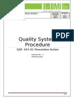 QSP 643 01 Preventive Action