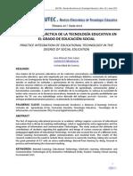 INTEGRACIÓN PRÁCTICA DE LA TECNOLOGÍA EDUCATIVA EN EL GRADO DE EDUCACIÓN SOCIAL