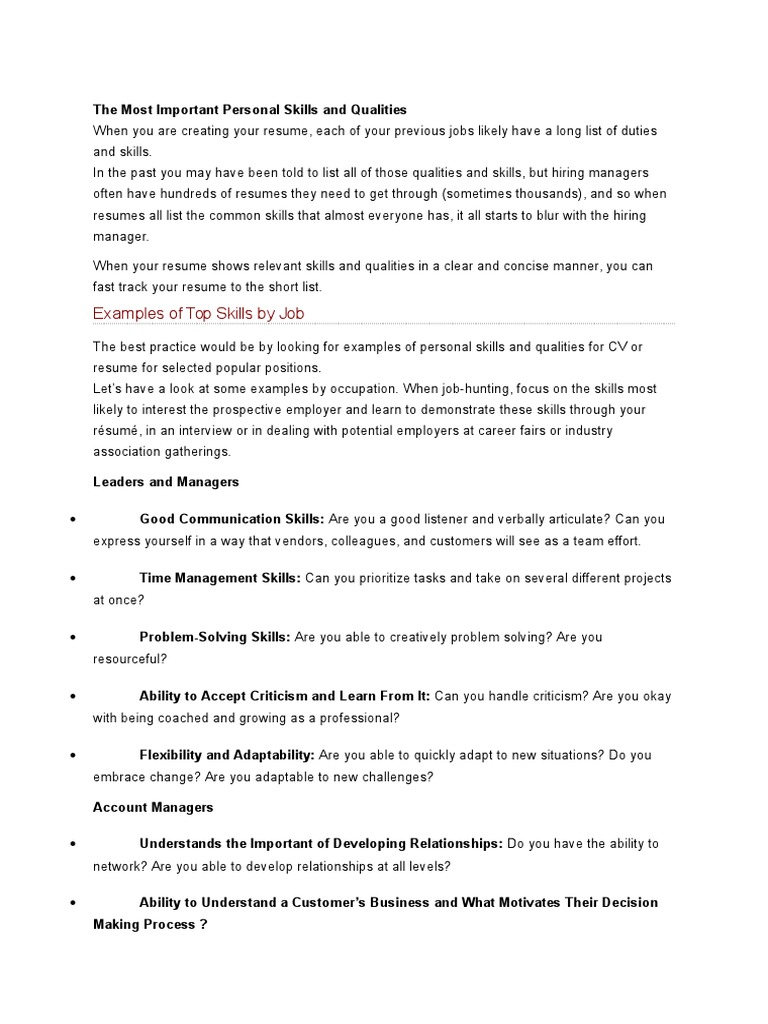 the most important personal skills and qualities docx
