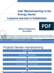 Projects Gender Mainstreaming in the Energy Sector