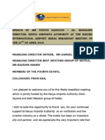 Speech by Ag. Md Kisumu Media Meeting April 2015