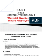 JF302 Material Technology TOPIC 1 Material Structure and Binary Alloy System