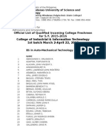 CIIT Entrance Exam Passers as of April 22, 2015