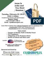 ID Theft Seminar Announcement