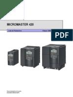 Inversor de Frequencia Siemens Micro Master 420 Lista de Paramentros