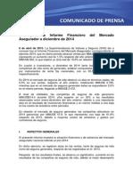Informe Financiero Del Mercado Asegurador a Diciembre de 2014