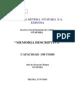 Memoria_Descriptiva Planta Concentradora Otapara 150 Tmsd