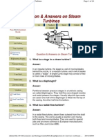 Question & Answers on Steam Turbines