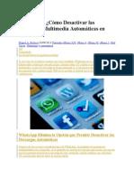 Cómo Desactivar Las Descargas Multimedia Automáticas en iPhone