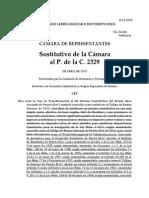 Sustitutivo Proyecto de la Cámara 2329 de Reforma Contributiva (Parte I)