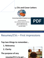 Resumes CVs and Cover Letters Fall 2012 for Webinar