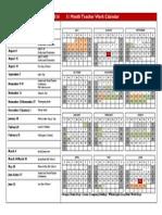 11 Month Teacher Work Calendar